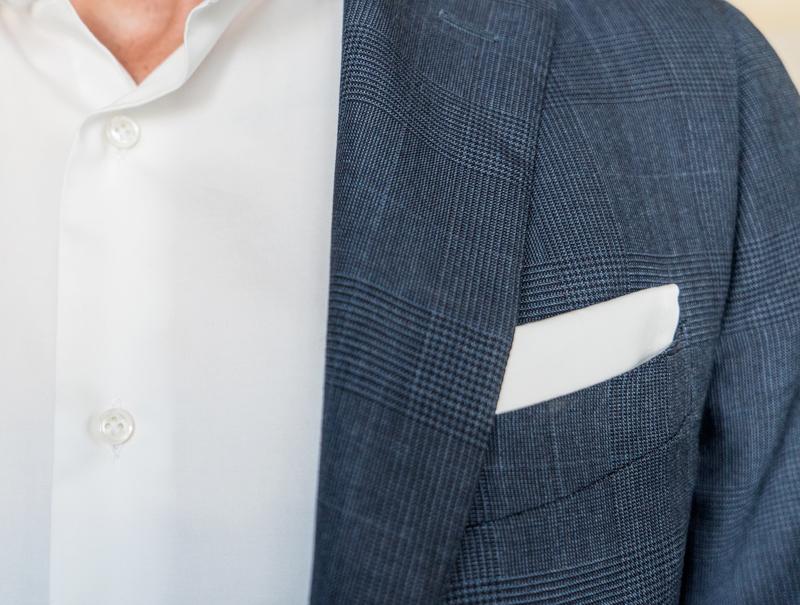 Fazzoletto Bianco da Taschino stesso tessuto Twill Raso della Camicia Bianca